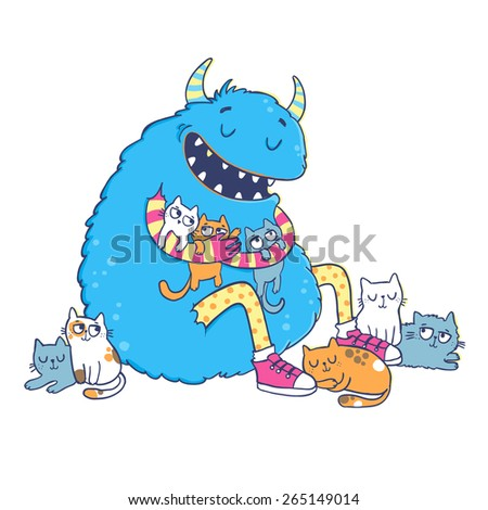 Vector illustration. Cute monster hugs cats. - stock vector