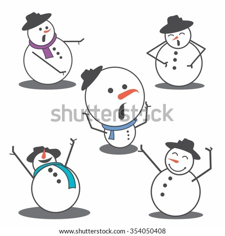 Vector Illustration Cute Snowman in Winter with purple attribute - stock vector