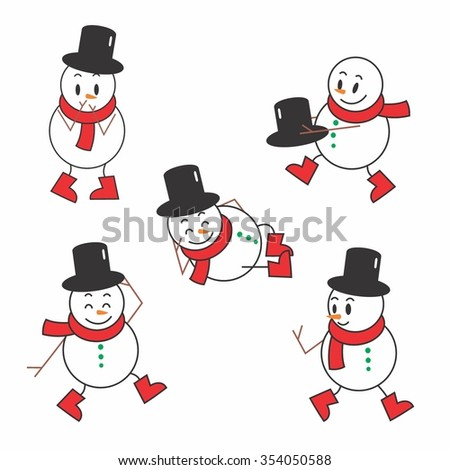 Vector Illustration Cute Snowman in Winter with red and black attribute - stock vector