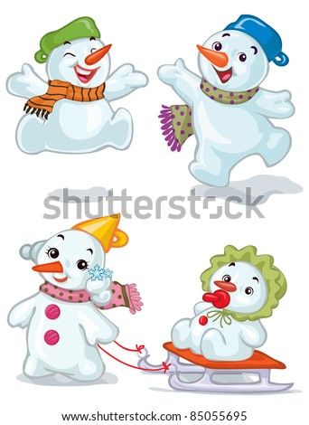 Vector illustration, cute snowman kids, card concept, white background. - stock vector