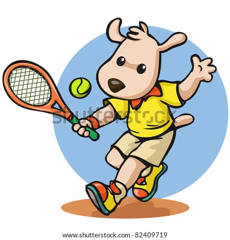 Vector illustration, cute sportive puppy participate on a tennis game, card concept. - stock vector
