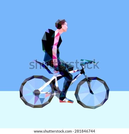 Vector illustration - cyclist (breathing space) - stock vector