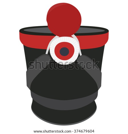 Vector illustration cylindrical military cap, hat with pompom and badge. Infantry shako hat - stock vector