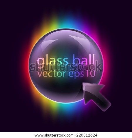 Vector illustration 3d glossy glass sphere button background. - stock vector