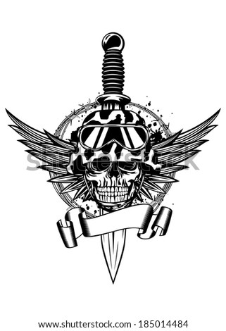 Vector illustration dagger, wings, barbed wire and skull in helmet