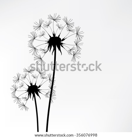 Vector illustration dandelion time. Two dandelions blowing in the wind. The wind inflates a dandelion - stock vector
