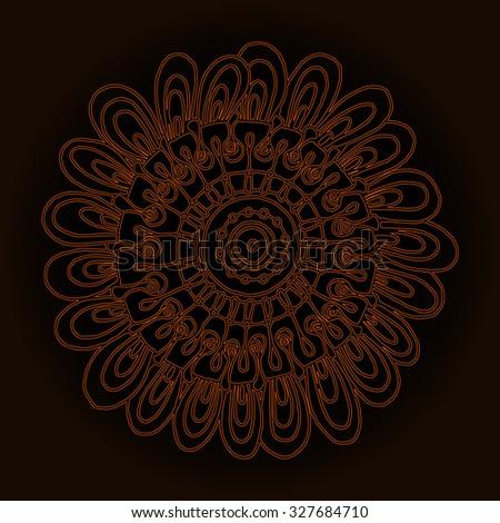 Vector illustration, dark mandala print, gold outline, card concept. - stock vector