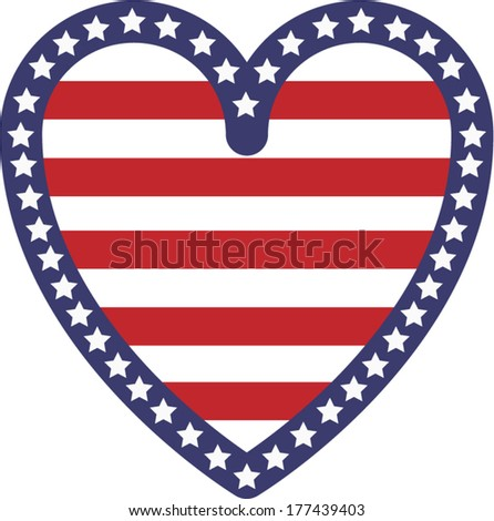 Vector illustration decoration of an heart with the American flag stars and stripes symbols