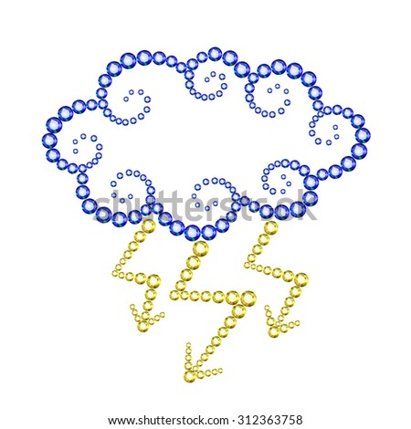 Vector illustration: decorative icon Cloud with lightnings made of blue and yellow crystals isolated on white background - stock vector