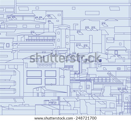 Vector illustration. Densely built houses in the city.  Architectural Chaos. Conceptual drawing. - stock vector