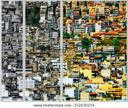 Vector illustration. Densely built houses in the city.  Architectural Chaos. (triptych). Conceptual drawing. - stock vector
