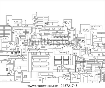 Vector illustration. Densely built houses in the city of Athens in Greece. Architectural Chaos - stock vector