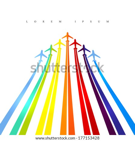 Vector illustration depicting a coloured planes.
