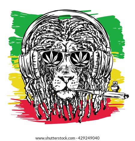 vector illustration depicting a lion with dreadlocks with chillum, glasses and music headphones as a symbol of the Rastafarian subculture, and the image of Jha on background Flag colors of Jamaica. - stock vector