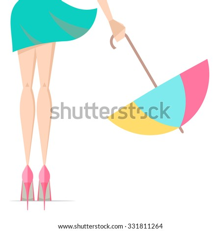 Vector illustration depicting the legs of a woman in high heels with umbrella