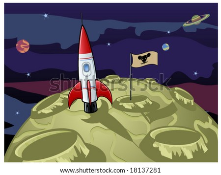 vector illustration depicting the moon is made from green cheese - stock vector