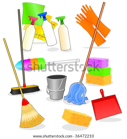 Vector illustration depicting various tools and accessories for cleaning - stock vector