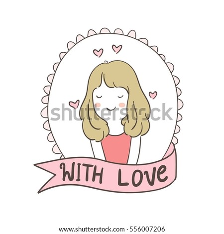 Vector Illustration Design Draw Vintage Frame Of Girl Fall Love In ValentineDoodle Style