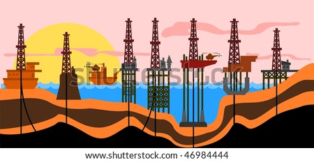 Vector illustration: different types of sea oil-production derricks. - stock vector