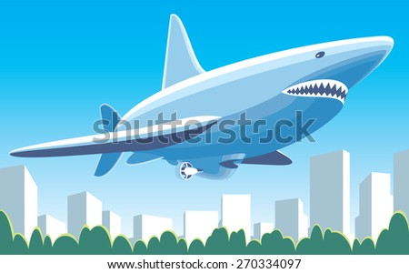 Vector illustration dirigible flying over the city