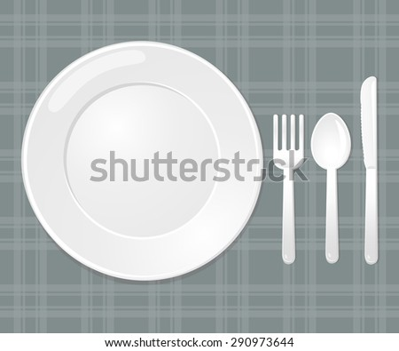 Vector. Illustration. Dish set. Spoon Fork and Knife.