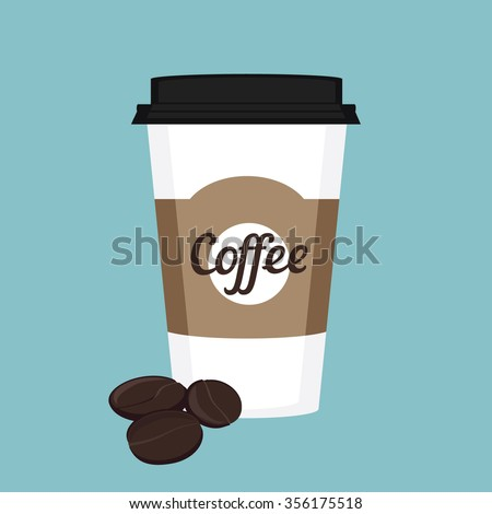 Vector illustration disposable coffee cup icon with coffee beans on blue background. Coffee cup logo - stock vector