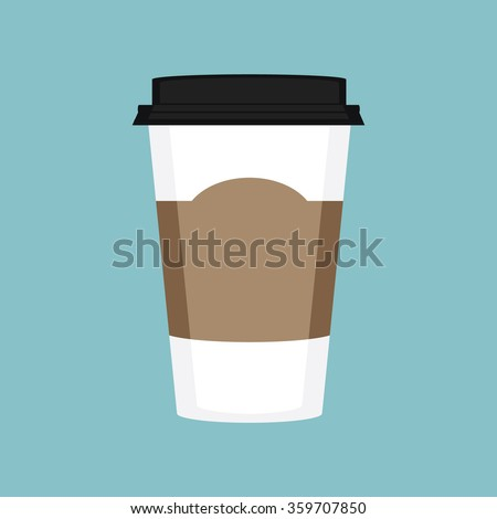 Vector illustration disposable coffee cup on blue background. Coffee cup logo - stock vector