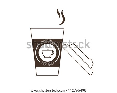 Vector illustration disposable coffee cup on while background. Coffee cup logo.Coffee cup lid glass placed against the side of the cup. - stock vector
