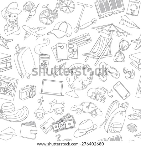 Vector illustration Doodle icons seamless travel pattern