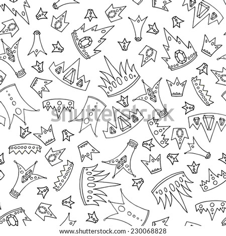 vector illustration. Doodle seamless pattern with  crowns. Black and white