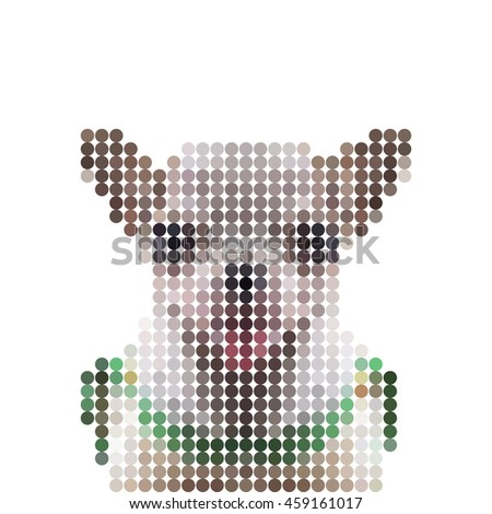 Vector illustration dot pixel head chihuahua dog isolated on white background