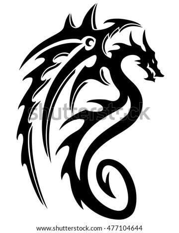 vector illustration dragon tattoo design black stock