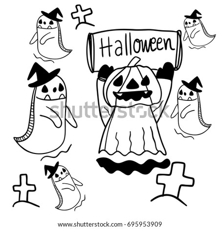 vector illustration draw outline of halloween devil skull doodle cartoon style character design - Cartoon Halloween Drawings