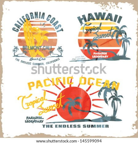 vector illustration drawing.california surf beach. summer tropical heat print - stock vector