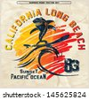 vector illustration drawing.california surf beach. summer tropical heat print,wave surf riders legendary vector t-shirts print - stock