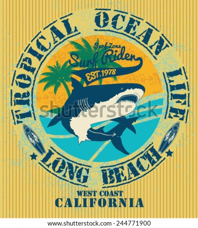 vector illustration drawing.california surf beach. summer tropical heat print,wave surf riders legendary vector t-shirts print  - stock vector