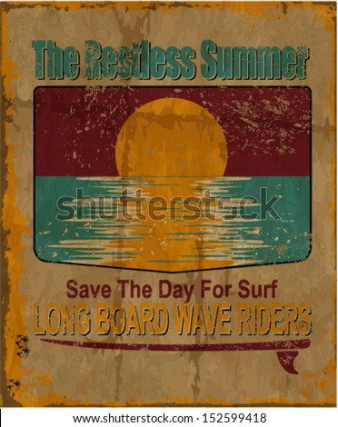 vector illustration drawing.california surf beach. summer tropical heat sunset print,wave surf riders legendary vector t-shirts print - stock vector