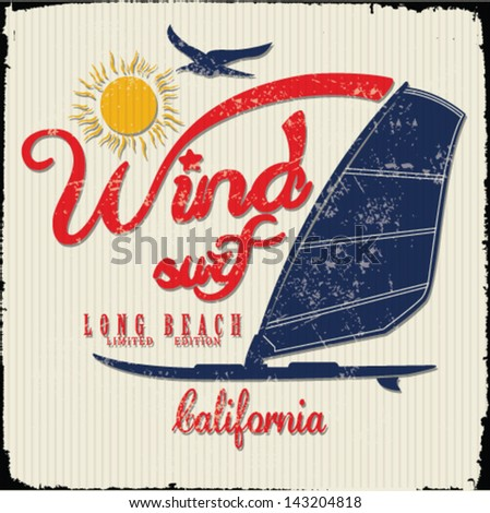 vector illustration drawing.california wind surf beach. summer tropical heat print - stock vector