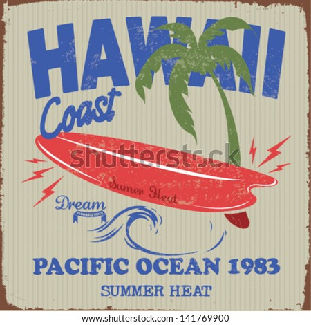 vector illustration drawing.  hawaii surf beach. summer tropical heat print.hawaii surf print vector set - stock vector