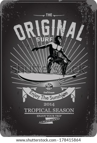 vector illustration drawing. hawaii surf beach. summer tropical heat print.hawaii surf print vector set - stock vector