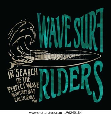 vector illustration drawing. pacific surf beach. summer heat print.wave surf print vector set - stock vector