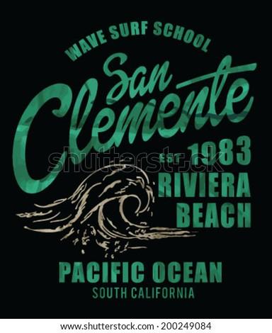 vector illustration drawing. pacific surf beach. summer heat print.wave surf print vector set - stock vector