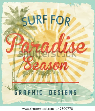 vector illustration drawing.pacific surf beach.Tropical island, summer tropical heat print, summer print,t-shirt summer print - stock vector