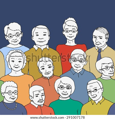Vector illustration drawn by hand. endless horizontal pattern with the image of a group of elderly people and pensioners. Grandmothers and Grandfathers