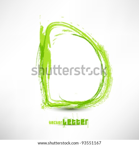 Vector illustration drawn by hand letter. Grunge green grass wave. - stock vector