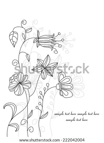 vector illustration drawn with decorative flowers, field, black and white