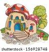 Vector illustration, dream mushroom house, cartoon concept. - stock vector