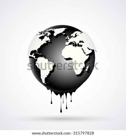 Vector illustration Earth globe dripping oil or diesel - stock vector