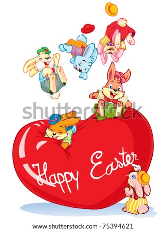 Vector illustration,Easter party rabbits, cartoon concept, white background.