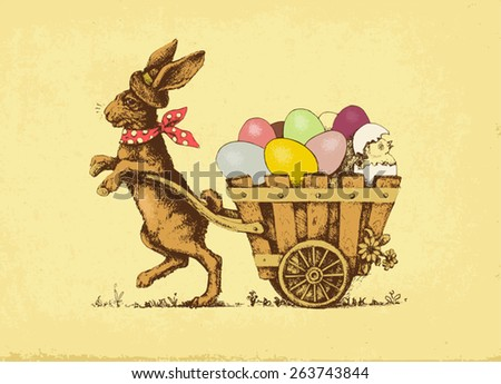 Vector illustration: Easter rabbit pulling a card with eggs. - stock vector